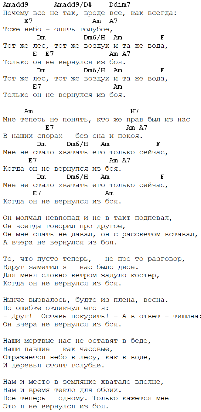 Высоцкий - Не вернулся из боя