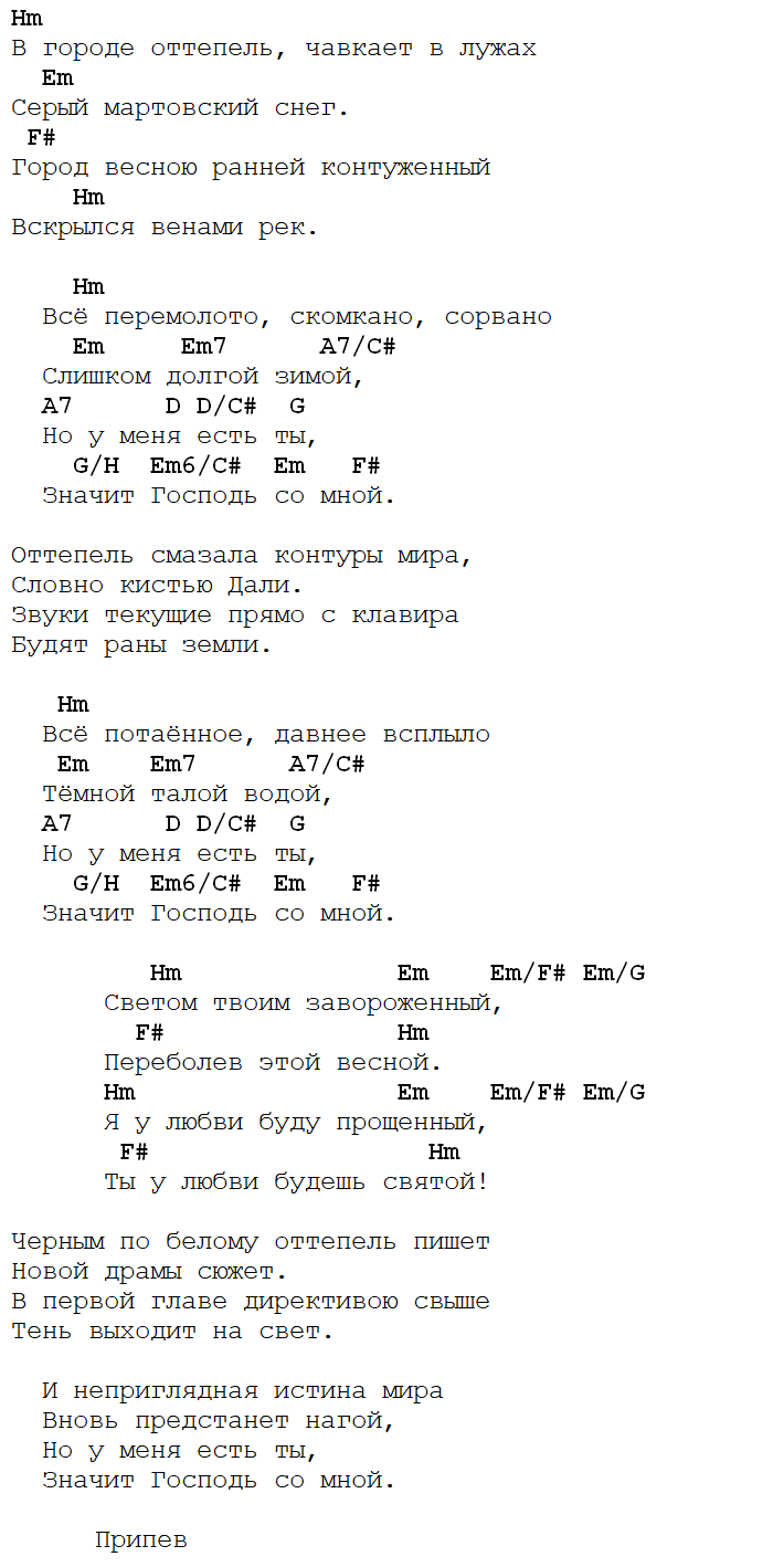 весенний блюз трофим аккорды